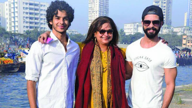 Ishaan Khatter with his mother Neelima Azeez and shahid kapoor